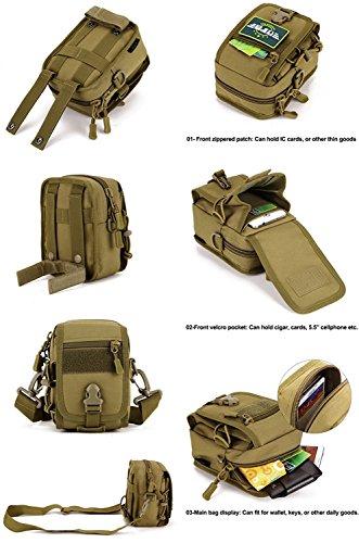 Military Tactical MOLLE wasserabweisend Gadget Tool, Organizer Tasche Taille Gürtel Valencia EDC Tasche Pack mit Schultergurt Desert digital