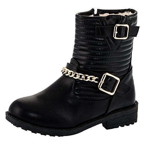 Gefütterte Mädchen Boots Stiefel mit Reißverschluss, Schnallen und Zierkette und in 2 Farben #250sw Schwarz Gr (Schnallen Stiefel Mit Schwarze)