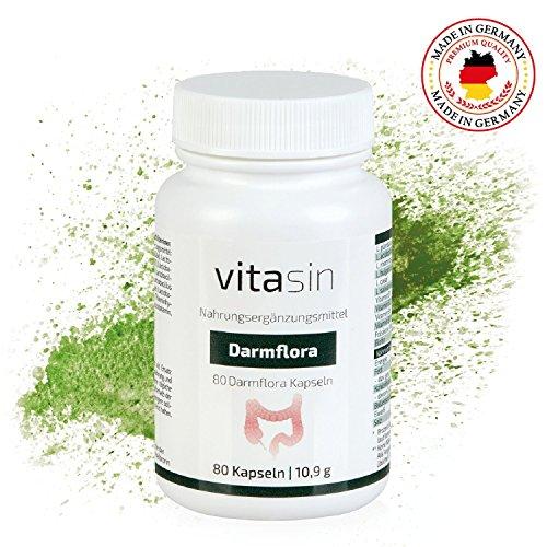 VITASIN probiotische Kapseln für die Darmflora - mit Bakterienstämmen und Vitaminen für einen gesunden Darm – 6 verschiedene aktive Bakterienstämme - 80 Kapseln - Probiotikum, Probiotika, Probiotik Komplex