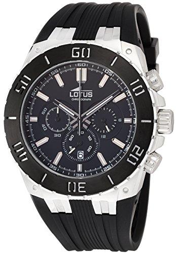 Lotus 15801/2 - Reloj cronógrafo de cuarzo para hombre con correa de caucho, color negro