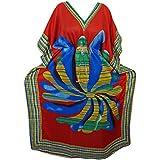 Mogul Interior Resort Kaftan Floral Printed Kimono Sleeves Caftan Boho Maxi Dress Onesize (Red)
