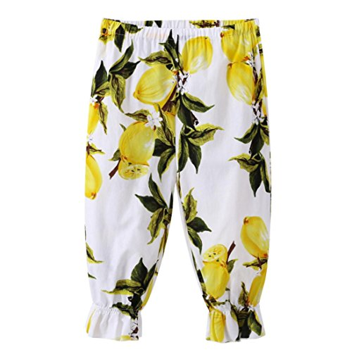 Clearance Sale!OverDose Toddler Kids Baby Girls Stretch Trousers Lemon Printing Loose Casual Pants