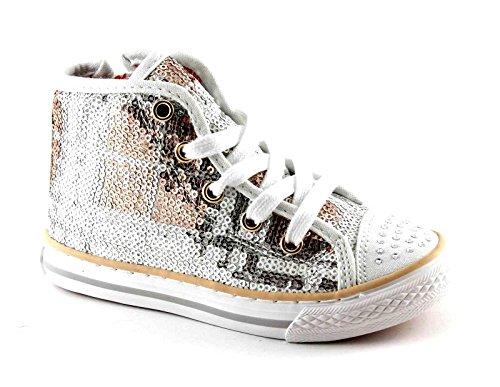 PRIMIGI 73152 argento grigio scarpe bambina ragazza alte zip lacci paillettes Argento
