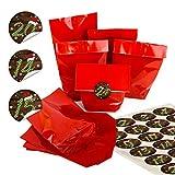 Calendrier de l'Avent en papier kraft avec autocollants ronds de 4 cm Marron vert blanc avec chiffres de calendrier de Noël et bonnet de 1 à 24 bruns. 24 Stück...