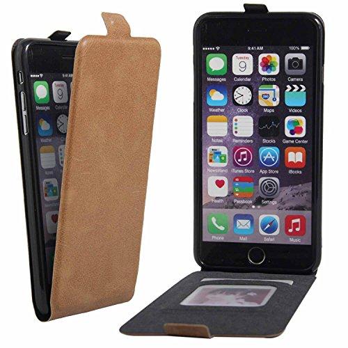 Owbb® PU Ledertasche oberen und unteren offenen im Bookstyle für iphone 6S Plus Smartphone Case Cover Wallet Standfunktion mit Kartenfächer Bargeld Aussparrung-Braun Braun