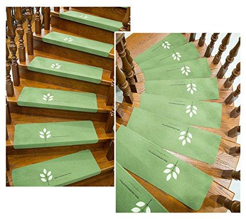 Stufenmatten Leuchtend Treppen Teppich 15er Set (55*22*4.5cm, Fünf Blätter Grün)