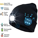 ATNKE LED Lighted Bluetooth Beanie Cap, USB Rechargeable Wireless Musical Running Hat Ultra Bright 4 LED Waterproof Light Lamp Use for Skiing Hiking Camping Cycling