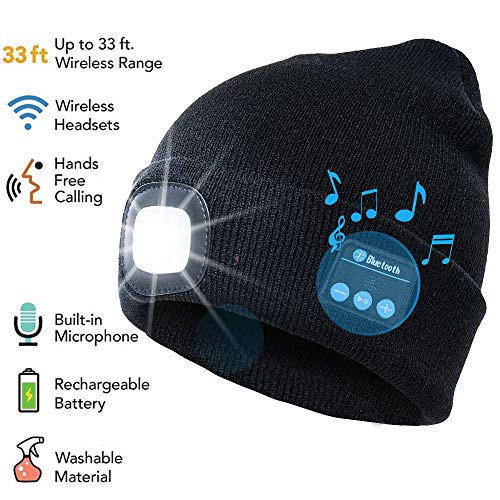 9a683b45456b60 ATNKE LED Lighted Bluetooth Beanie Cap, USB Rechargeable Wireless Musical  Running Hat Ultra Bright 4