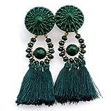 WJSAT Ohrringe Frauen Quaste Ohrringe Retro Ethnischen Stil Quaste Ohrringe Modeschmuck, Grün