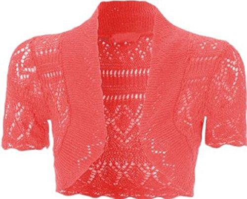 My Fashion Store New Kinder Mädchen zuckt Bolero Häkel Strick mit Short Cap Sleeve Tops UK Größe 2-13Jahre Gr. 11-12 Jahre, Mehrfarbig - Hot Pink - Cap Sleeve Shrug