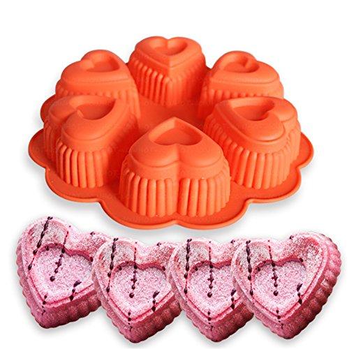 Silikon Backform/Muffinform für Muffins, Cupcakes, Kuchen, Pudding, Eiswürfel und Gelee - Herz Brotbackform für eindrucksvolle Kreationen, hochwertige Silikon-Kuchenform ()