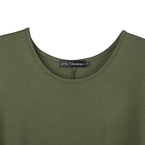SUNNOW Femmes Robe O Neck manches courtes T-Shirt Dress Mode féminine Casual and Loose Robe Vert Armé