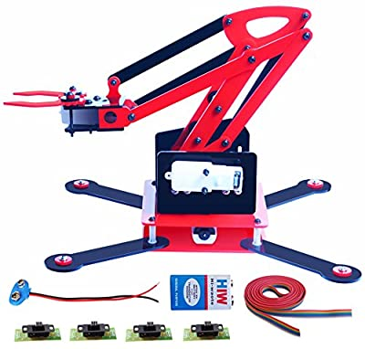 Kit4Curious Nasa Acrylic Tech Dpdt Slide Switch Controlled Robot Arm Kit with 4 Motor, 9v Connector, Wire (Multicolour)