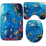 AMDXD Flanell Teppich Unterseite Welt Groß Haifisch Schildkröte Design Teppiche für Schlafzimmer Wohnzimmer Blau 50x80CM