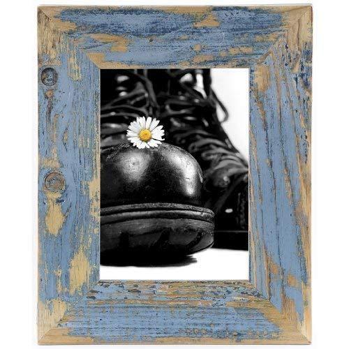Bilderrahmen aus echtem Alt-Holz im Landhaus-Stil vintage, rustikal - handgefertigte Unikate in hellblau 10X15 -