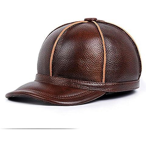 XMQC*Moda Uomo Vera Pelle cappello da baseball
