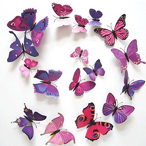 rose 【Black Friday Promotion】upspirit 12 3D Papillon artificielle Aimants pour R/éfrig/érateur magn/étique autocollants
