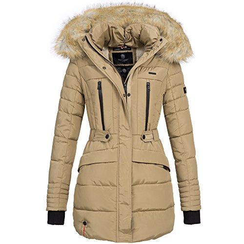 Marikoo NOVA Damen Mantel Wintermantel Steppjacke Winter Jacke lang XS-XXL 6Farben, Größe:S / 36;Farbe:Beige