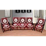 Luxury Crafts™ 5 Seater Cotton Sofa and Chair Cover (Set of 6 Pcs) (Maroon)