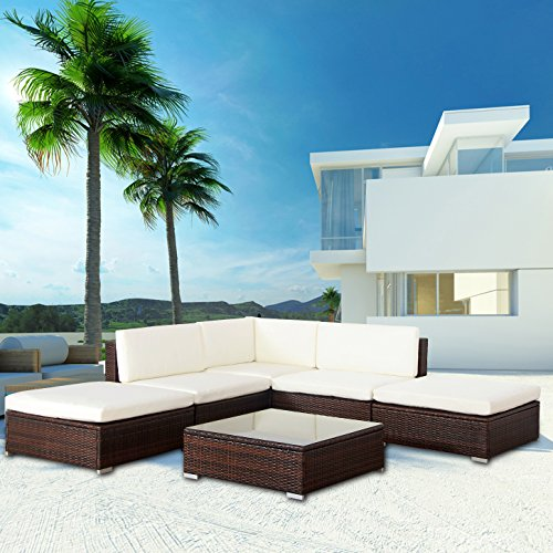 'Mali' POLY RATTAN Lounge Braun Aluminium Sofa Garnitur Polyrattan Gartenmöbel