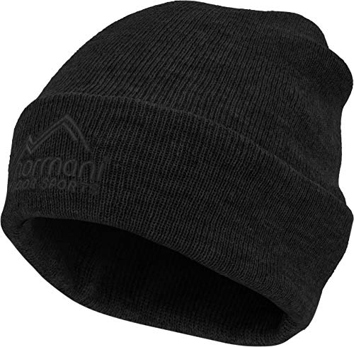 normani Strickmütze mit 3M Thinsulate (40g) und Fleecefutter bis -30°C - für Damen und Herren - Beanie Farbe Schwarz -