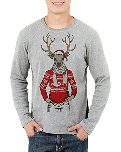 Honeystore Unisex Weihnachtsdruck Pullover Shirt Langarm Davidshirsch Druck Sweatshirt Grau M