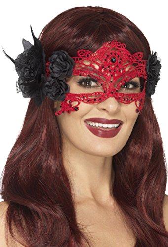 SMIFFY 'S 48171Stickerei Spitze filigranen Devil Eyemask, rot & schwarz, One Size