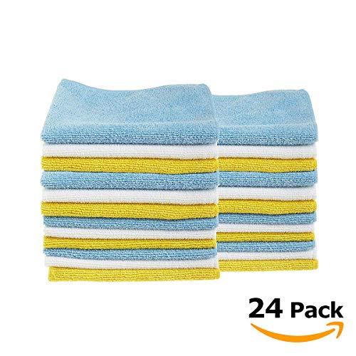 Tivoli Panni per Pulire in Microfibra Confezione da 24 – Lavabile in Lavatrice – 40 x 30 cm – in Blu, Giallo e Bianco – Pulizia Senza Sostanze Chimiche