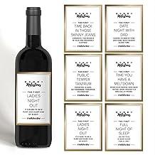 Mamá hito botella de vino etiquetas para nueva mamá, mommy-to-be o amigo. Oro Set de 5 etiquetas de vino. Perfecto para el bebé ducha, el día de la madre o ...