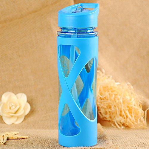 Wasserflasche Camping Kunststoff Space Cup Versiegelung Trinkgeschirr Outdoor Gesundheit Wandern 580 ml Auslaufsicher Staubdicht Anti-Kalk-Trink-Tour umweltfreundlich Silikon Kreis Free Size blau -