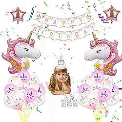 Lesplus Anniversaire Licorne, Decoration Anniversaire Ballons Rose Gold Blanc Kit Fournitures de Fete Bannière Tatouage Etoile Chapeau Fille Cadeau