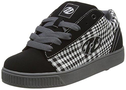 Heelys Straight Up (TX2297D) - Scarpe da Ginnastica Basse Unisex per bambini, colore Black/Plaid/Charcoal/White , (Plaid High Heel)