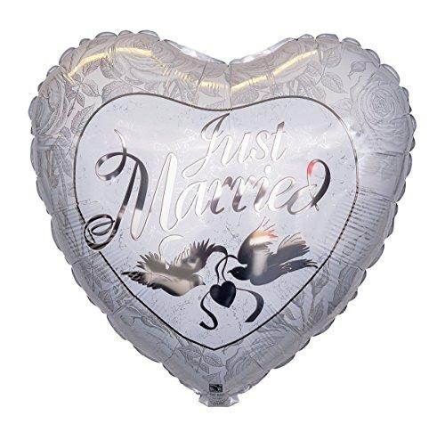 Atemluft Montage (Ballongruesse - Hochzeit Ballon Just Married - 38cm Lieferung heliumgefüllt im Karton - Hochzeitsgeschenk)