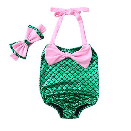 FRAUIT Costume da Bagno Bambina Intero Estate + Fascia Capelli Costumi da Piscina Spiaggia Mare Nuoto Bikini da Bagno Costumi per Bambine da Mare Bikini per 1 Anni-5 Anni