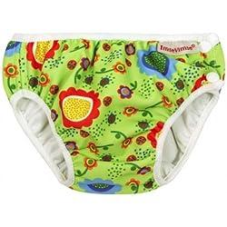 ImseVimse Slip de bain avec couche-culotte pour bébé Motif à fleur Vert L (9-12kg)