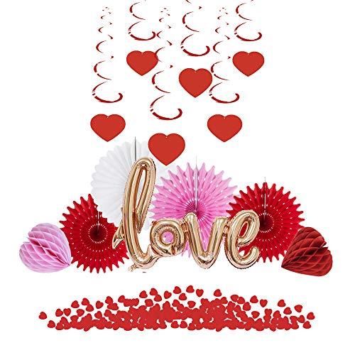 Easy Joy Deco Mariage Ballon Rouge Papier Rosace Confettis Coeur Saint Valentin Decoration Kit (Type-2)