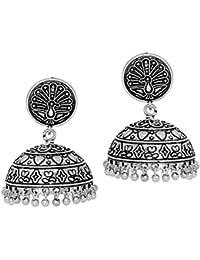 Jaipur Mart Collection Peacock Inspired Oxidised German Silver Plated Jhumka Jhumki Earrings For Women