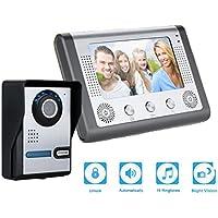 "Kit de Timbre Digital con cámara FLOUREON (1 Monitor de 7"", TFT LCD, 1 Cámara IR al aire libre, visión nocturna, video portero)"