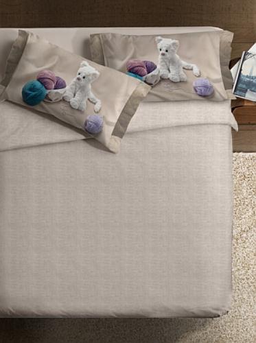 Ipersan My Sweet Cat Fine-Art Parure Copripiumino Fotografico, Singolo, Cotone, Beige/Bianco/Lilla, a Una Piazza