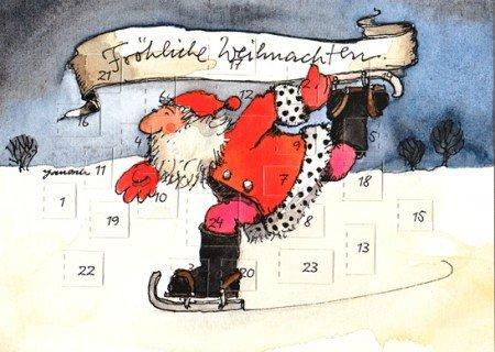 Janosch Adventskalenderkarte Weihnachtsmann fährt Schlittschuh