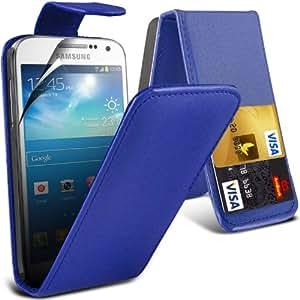 (Blau) Samsung Galaxy S4 Mini i9190 Custom Designed Stilvolle Accessoires zur Auswahl Schutzmaßnahmen Kunst Credit / Debit-Karten-Leder Flip Case Hülle & LCD-Display Schutzfolie von Hülle Spyrox