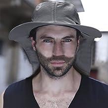 Hombre Gorra Sombrero de sol sombrero de pesca anti-UV gorra hombre con  Protège cuello 7cfc9bec3a4