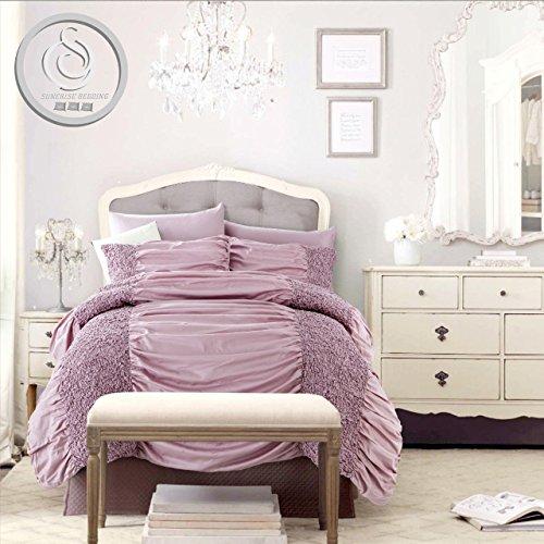 neuen Sommer Weich Betten Rüschen & Sizilien Bettbezug Set für Betten Raum Wohnzimmer + 2kissenrollen, Lilac, Double ( 200 x 200 CM ) (Seide Unterwäsche Stricken)