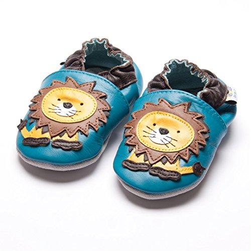 Jinwood designed by amsomo - Boys - Jungen - Hausschuhe - echt Leder Lederpuschen - Krabbelschuhe - soft sole / mini shoes div. Groeßen lion blue soft sole