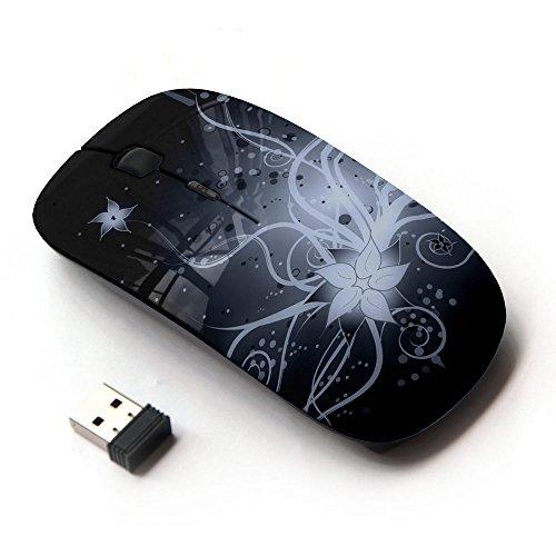 KOOLmouse [ Mouse Senza Fili Ottico 2.4G ] [ Flower Blossom White Black Night Art Drawing ]