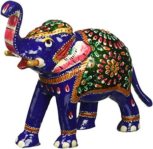 SouvNear 16,2 cm Tronc Jusqu'à la Sculpture Bleu d'éléphant avec Meenakari de Travail - Bonne Chance éléphant Figurine / Statue - Cadeaux Feng Shui Uniques