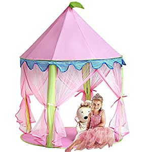 tente enfant intérieur - Tente de château de princesse de fille, playhouse rose de Sonyabecca pour les filles sautent la pièce de lecture de tente