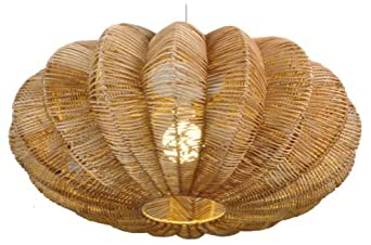 Naeve Leuchten 7001227 Lustre suspension en bois et osier Couleur bois 50 x 35 cm