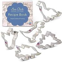 Dinosaur Cookie Cutter Set with Recipe Book - 5 Piece - Triceratops, Stegosaurus, T-Rex, Brontosaurus and Dinosaur Footprint- Ann Clark - USA Made Steel
