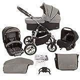 Milk Rock Baby Macano S Kinderwagen mit 3 Gestellfarben (Autositz, Regenschutz, Moskitonetz, Schwenkräder) MO70 Silver / Black Jeans